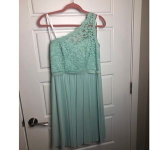 Mint colored, lace/one shoulder, formal dress.